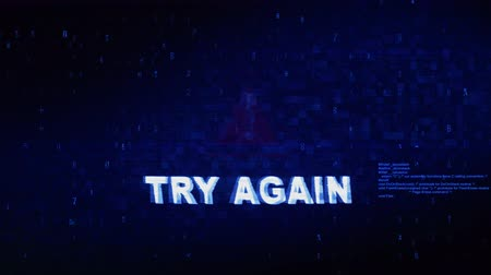 tehdit : Try Again Text Digital Noise Glitch Effect Tv Screen Background. Login and Password With System Error Security ,Hacking Alert , Cyber Crime Attack Computer Error Distortion Message .