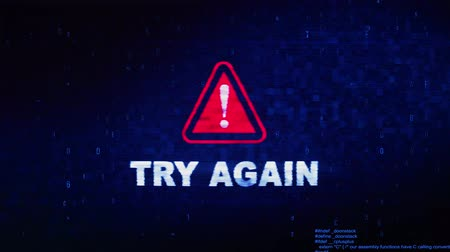 лучше : Try Again Text Digital Noise Glitch Effect Tv Screen Loop Background. Login and Password With System Error Security ,Hacking Alert , Cyber Crime Attack Computer Error Distortion Message . Стоковые видеозаписи