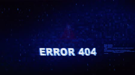 oeps : XXXXXrror 404 Tekst Digital Noise Glitch Effect Tv-schermachtergrond. Login en wachtwoord met systeemfoutbeveiliging, hackwaarschuwing, cybercriminaliteit Attack Computer Error Distortion Message. Stockvideo