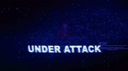 jornalismo : Under Attack Text Digital Noise Glitch Effect Tv Screen Background. Login and Password With System Error Security ,Hacking Alert , Cyber Crime Attack Computer Error Distortion Message . Stock Footage