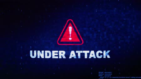 конфиденциальный : Under Attack Text Digital Noise Glitch Effect Tv Screen Loop Background. Login and Password With System Error Security ,Hacking Alert , Cyber Crime Attack Computer Error Distortion Message .