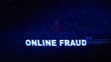 spion : Online fraude Tekst Digital Noise Glitch Effect Tv-schermachtergrond. Login en wachtwoord met systeemfoutbeveiliging, hackwaarschuwing, cybercriminaliteit Attack Computer Error Distortion Message. Stockvideo