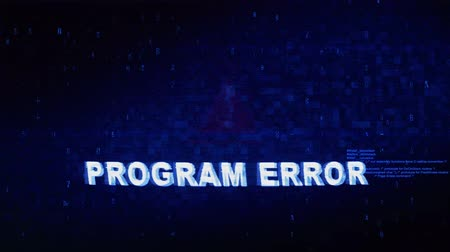 prosedür : Program Error Text Digital Noise Glitch Effect Tv Screen Background. Login and Password With System Error Security ,Hacking Alert , Cyber Crime Attack Computer Error Distortion Message . Stok Video