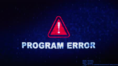 błąd : Program Error Text Digital Noise Glitch Effect Tv Screen Loop Background. Login and Password With System Error Security ,Hacking Alert , Cyber Crime Attack Computer Error Distortion Message . Wideo