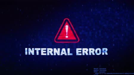 błąd : Internal Error Text Digital Noise Glitch Effect Tv Screen Loop Background. Login and Password With System Error Security ,Hacking Alert , Cyber Crime Attack Computer Error Distortion Message .