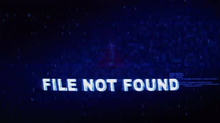 восклицание : File not Found Text Digital Noise Glitch Effect Tv Screen Loop Background. Login and Password With System Error Security ,Hacking Alert , Cyber Crime Attack Computer Error Distortion Message . Стоковые видеозаписи