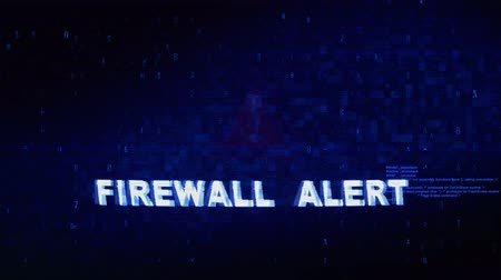 błąd : Firewall Alert Text Digital Noise Glitch Effect Tv Screen Loop Background. Login and Password With System Error Security ,Hacking Alert , Cyber Crime Attack Computer Error Distortion Message . Wideo
