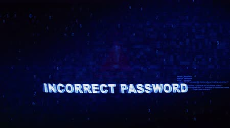 errado : Incorrect Password Text Digital Noise Glitch Effect Tv Screen Loop Background. Login and Password With System Error Security ,Hacking Alert , Cyber Crime Attack Computer Error Distortion Message .