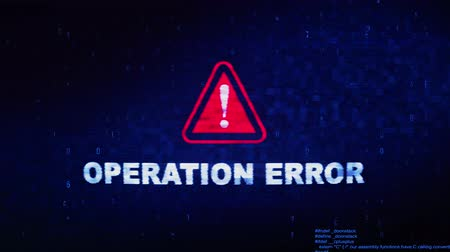 гарантия : Operation Error Text Digital Noise Glitch Effect Tv Screen Background. Login and Password With System Error Security ,Hacking Alert , Cyber Crime Attack Computer Error Distortion Message . Стоковые видеозаписи