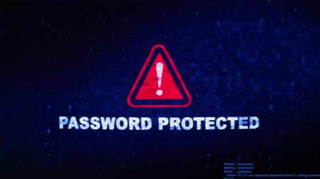 odemknout : Password Protected Text Digital Noise Glitch Effect Tv Screen Loop Background. Login and Password With System Error Security ,Hacking Alert , Cyber Crime Attack Computer Error Distortion Message .