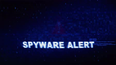 trojan : Spyware Alert Text Digital Noise Glitch Effect Tv Screen Loop Background. Login and Password With System Error Security ,Hacking Alert , Cyber Crime Attack Computer Error Distortion Message . Stock Footage