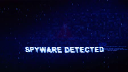 антивирус : Spyware Detected Text Digital Noise Glitch Effect Tv Screen Loop Background. Login and Password With System Error Security ,Hacking Alert , Cyber Crime Attack Computer Error Distortion Message .