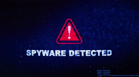 trojan : Spyware Detected Text Digital Noise Glitch Effect Tv Screen Background. Login and Password With System Error Security ,Hacking Alert , Cyber Crime Attack Computer Error Distortion Message . Stock Footage
