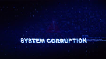detection : System Corruption Text Digital Noise Glitch Effect Tv Screen Loop Background. Login and Password With System Error Security ,Hacking Alert , Cyber Crime Attack Computer Error Distortion Message . Stock Footage