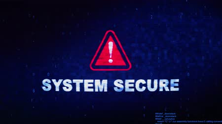 korumak : System Secure Text Digital Noise Glitch Effect Tv Screen Background. Login and Password With System Error Security ,Hacking Alert , Cyber Crime Attack Computer Error Distortion Message . Stok Video