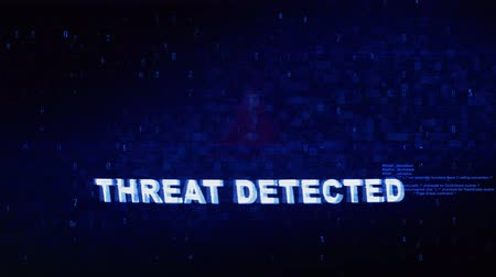 caution sign : Threat Detected Text Digital Noise Glitch Effect Tv Screen Loop Background. Login and Password With System Error Security ,Hacking Alert , Cyber Crime Attack Computer Error Distortion Message .