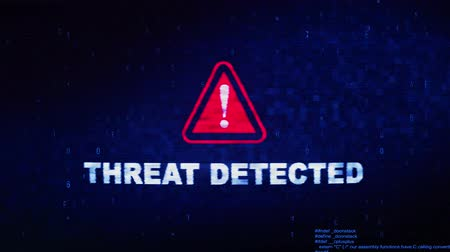 monitoren : Threat Detected Text Digital Noise Glitch Effect Tv Screen Background. Login and Password With System Error Security ,Hacking Alert , Cyber Crime Attack Computer Error Distortion Message .