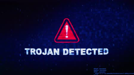 tehdit : Trojan Detected Text Digital Noise Glitch Effect Tv Screen Loop Background. Login and Password With System Error Security ,Hacking Alert , Cyber Crime Attack Computer Error Distortion Message .