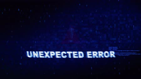 crashed : Unexpected Error Text Digital Noise Glitch Effect Tv Screen Loop Background. Login and Password With System Error Security ,Hacking Alert , Cyber Crime Attack Computer Error Distortion Message . Stock Footage