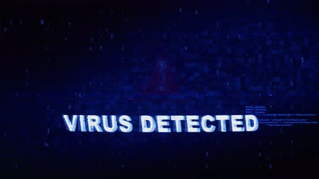 enfeksiyon : Virus Detected Text Digital Noise Glitch Effect Tv Screen Loop Background. Login and Password With System Error Security ,Hacking Alert , Cyber Crime Attack Computer Error Distortion Message .