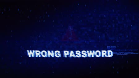 rejeitar : Wrong Password Text Digital Noise Glitch Effect Tv Screen Loop Background. Login and Password With System Error Security ,Hacking Alert , Cyber Crime Attack Computer Error Distortion Message . Stock Footage
