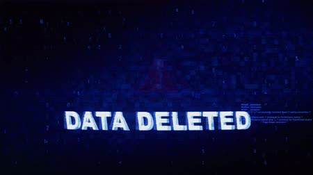 excluir : Data Deleted Text Digital Noise Glitch Effect Tv Screen Loop Background. Login and Password With System Error Security ,Hacking Alert , Cyber Crime Attack Computer Error Distortion Message .