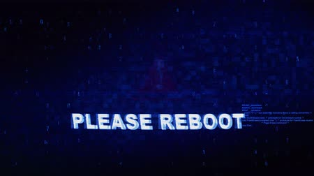 ripetizione : Please Reboot Text Digital Noise Glitch Effect Tv Screen Loop Background. Login and Password With System Error Security ,Hacking Alert , Cyber Crime Attack Computer Error Distortion Message .