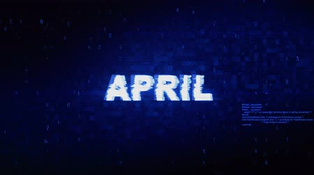 mensal : April Text Digital Noise Twitch and Glitch Effect Tv Screen Loop Animation Background. Login and Password Retro VHS Vintage and Pixel Distortion Glitches Computer Error Message.