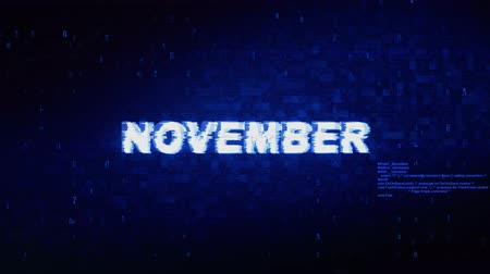 wooden type : November Text Digital Noise Twitch and Glitch Effect Tv Screen Loop Animation Background. Login and Password Retro VHS Vintage and Pixel Distortion Glitches Computer Error Message.