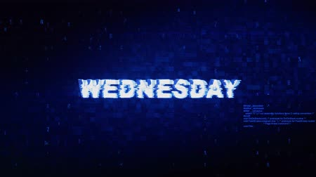 zondag : Wednesday Text Digital Noise Twitch en Glitch Effect Tv-scherm Loop Animation Background. Login en wachtwoord Retro VHS Vintage en Pixel Distortion Glitches Computer foutmelding. Stockvideo