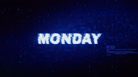 cita : Monday Text Digital Noise Twitch y Glitch Effect Tv Screen Loop Animation Background. Inicio de sesión y contraseña Retro VHS Vintage y Pixel Distortion Glitches Mensaje de error de la computadora. Archivo de Video