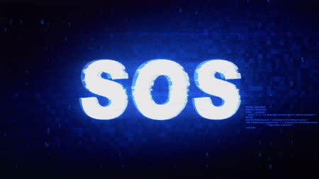 sós : SOS Text Digital Noise Twitch and Glitch Effect Tv Screen Loop Animation Background. Login and Password Retro VHS Vintage and Pixel Distortion Glitches Computer Error Message.