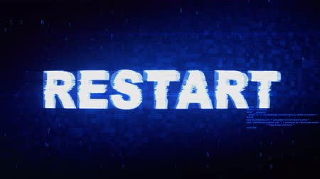 undo : Restart Text Digital Noise Twitch and Glitch Effect Tv Screen Loop Animation Background. Login and Password Retro VHS Vintage and Pixel Distortion Glitches Computer Error Message. Stock Footage