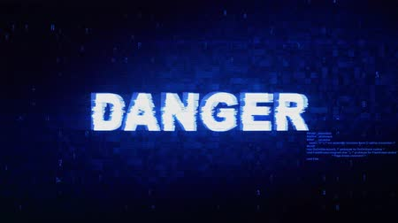 ter cuidado : Danger Text Digital Noise Twitch and Glitch Effect Tv Screen Loop Animation Background. Login and Password Retro VHS Vintage and Pixel Distortion Glitches Computer Error Message.