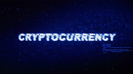 block chain : Cryptocurrency Text Digital Noise Twitch and Glitch Effect Tv Screen Loop Animation Background. Login and Password Retro VHS Vintage and Pixel Distortion Glitches Computer Error Message.