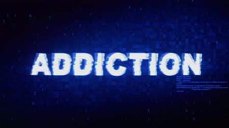 závislost : Addiction Text Digital Noise Twitch and Glitch Effect Tv Screen Loop Animation Background. Login and Password Retro VHS Vintage and Pixel Distortion Glitches Computer Error Message.