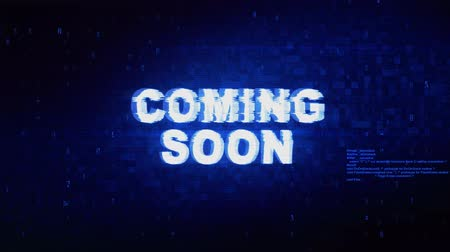 soon : Coming Soon Text Digital Noise Twitch and Glitch Effect Tv Screen Loop Animation Background. Login and Password Retro VHS Vintage and Pixel Distortion Glitches Computer Error Message. Stock Footage