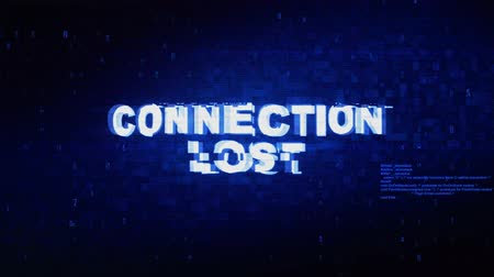 sinais : Connection Lost Text Digital Noise Twitch and Glitch Effect Tv Screen Loop Animation Background. Login and Password Retro VHS Vintage and Pixel Distortion Glitches Computer Error Message.