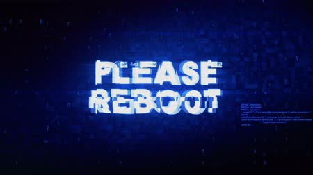 talep : Please Reboot Text Digital Noise Twitch and Glitch Effect Tv Screen Loop Animation Background. Login and Password Retro VHS Vintage and Pixel Distortion Glitches Computer Error Message.