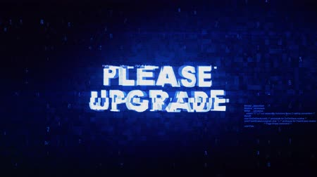 mevcut : Please Upgrade Text Digital Noise Twitch and Glitch Effect Tv Screen Loop Animation Background. Login and Password Retro VHS Vintage and Pixel Distortion Glitches Computer Error Message. Stok Video