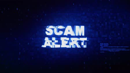 arnaque : Scam Alert Text Digital Noise Twitch and Glitch Effect Tv Screen Loop Animation Background. Login and Password Retro VHS Vintage and Pixel Distortion Glitches Computer Error Message.