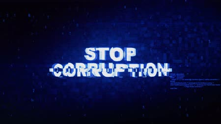 汚職 : Stop Corruption Text Digital Noise Twitch and Glitch Effect Tv Screen Loop Animation Background. Login and Password Retro VHS Vintage and Pixel Distortion Glitches Computer Error Message.