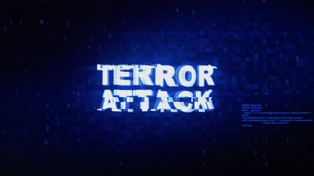 malware : Terror Attack Text Digital Noise Twitch and Glitch Effect Tv Screen Loop Animation Background. Login and Password Retro VHS Vintage and Pixel Distortion Glitches Computer Error Message. Stock Footage