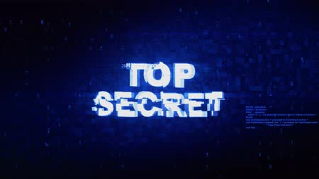 запрещенный : Top Secret Text Digital Noise Twitch and Glitch Effect Tv Screen Loop Animation Background. Login and Password Retro VHS Vintage and Pixel Distortion Glitches Computer Error Message.