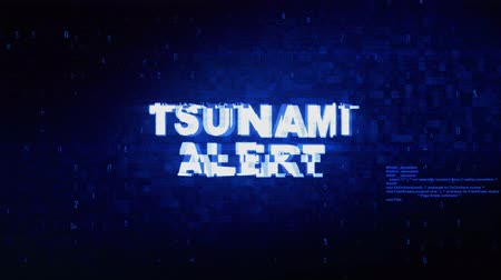 powódź : Tsunami Alert Text Digital Noise Twitch and Glitch Effect Tv Screen Loop Animation Background. Login and Password Retro VHS Vintage and Pixel Distortion Glitches Computer Error Message. Wideo