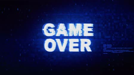 végső : GAME OVER Text Digital Noise Twitch and Glitch Effect Tv Screen Loop Animation Background. Login and Password Retro VHS Vintage and Pixel Distortion Glitches Computer Error Message.