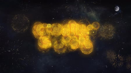 zaproszenie : Coming Soon Text Typography Reveal From Golden Firework Crackers Particles Night Sky 4k Background. Greeting card, Celebration, Party, Invitation, Gift, Event, Message, Holiday, Wish, Festival