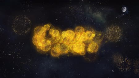 aperto cartello : Coming Soon Text Typography Reveal From Golden Firework Crackers Particles Night Sky 4k Background. Greeting card, Celebration, Party, Invitation, Gift, Event, Message, Holiday, Wish, Festival