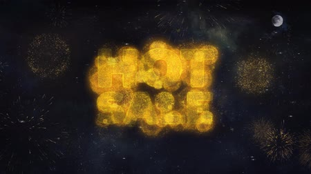 onthullen : Hot Sale Text Typography Reveal From Golden Firework Crackers Particles Night Sky 4k Achtergrond. Wenskaart, Viering, Feest, Uitnodiging, Geschenk, Evenement, Bericht, Feestdagen, Wensen, Festival
