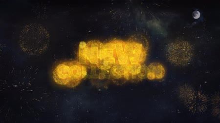 semana de moda : New Collection Text Typography Reveal From Golden Firework Crackers Particles Night Sky 4k Background. Greeting card, Celebration, Party, Invitation, Gift, Event, Message, Holiday, Wish, Festival